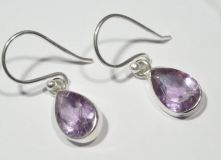 Amethyst Pear Facet Drop Earrings