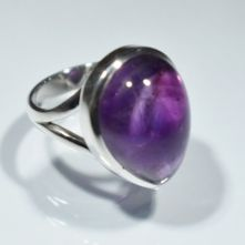 Amethyst Pear Cabochon Ring