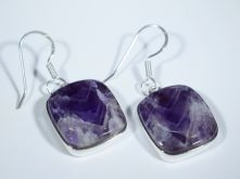 Amethyst Lace Square Cabochon Drop Earrings