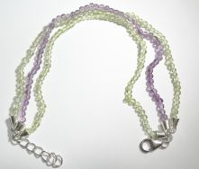 B02-AME-Purple and Green Amethyst Bead Cabochon Lobster Claw clasp Bracelet