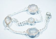 B23-RQU-Rose Quartz Round Facet Briollet, Lobster Claw clasp Bracelet