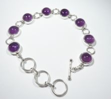 B34-AME-Amethyst Round Cabochon Bar and Ring clasp Bracelet