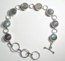 B34-LAB-Labradorite Round Cabochon Bar and Ring clasp Bracelet