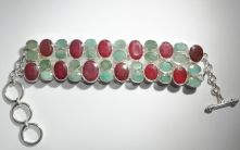 B51-6144-Ruby and Emerald Multi Facet Bar and Ring clasp Bracelet