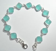 B06-BCAL-Blue Calci Square Facet Briollet, Lobster Claw clasp Bracelet image