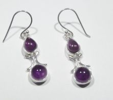 E348-AME-Amethyst Round Drop Earrings image