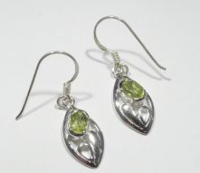 E372-PER Peridot Oval Facet Drop Earrings