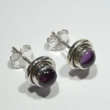 E386-AME Amethyst Round Stud Earrings