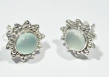 E387-Aqua Calci Round stud Earrings image