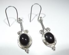 E400-BKO-Black Onyx Oval Drop Earrings