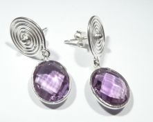 E414-AME-Amethyst Oval Drop Earrings
