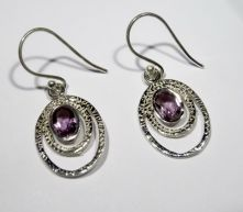 E501F-Amethyst Oval Drop Earrings