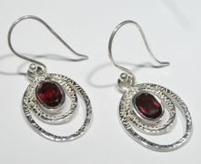 E501F-Garnet Oval Drop Earrings image