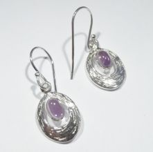 E502-Amethyst Oval Drop Earrings image