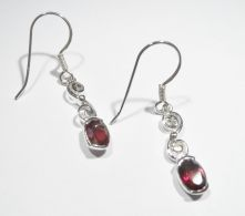 E503F-Garnet Oval Drop Earrings