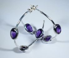 E505-AME-Amethyst Oval Hoop Earrings