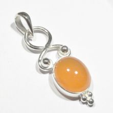 P525-CAR Carnelian Single Cabochon Oval Pendant image