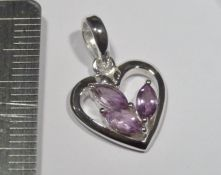 P530-Amethyst Three Small Faceted Stones in Heart Shape Pendant