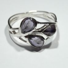 R176-IOL Iolite Multi Stone Pear Facet Pattern Ring