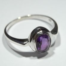 R206-AME-Amethyst Single Oval Cabochon Pattern Ring image