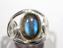R516-LAB Labradorite Single Oval Cabochon ring with spiral setting