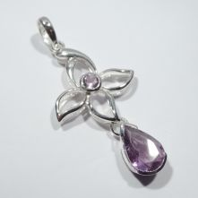 p449-AME Amethyst Floral Pattern Pendant